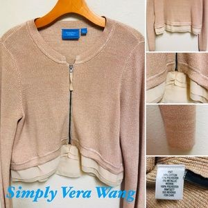 SIMPLY VERA Wang Knit Zip-Up Sweater